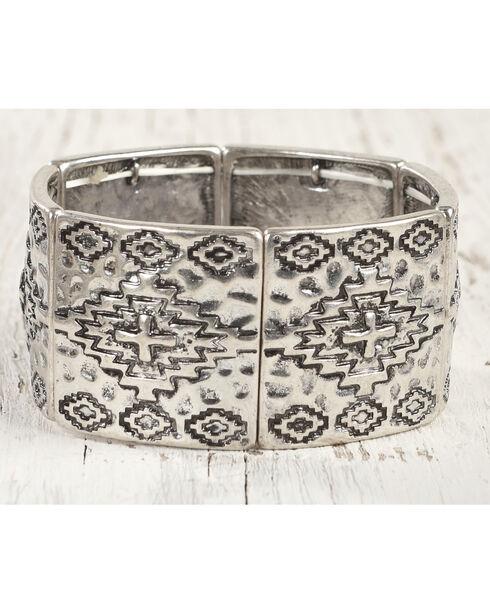 Shyanne Women's Aztec Embellished Stretch Bracelet, Silver, hi-res