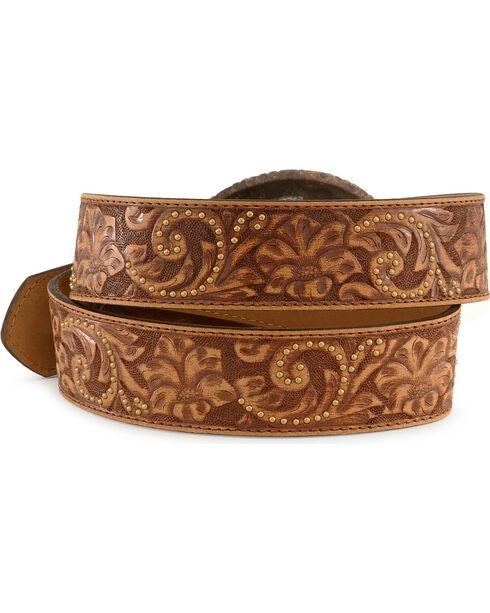 Justin Cross Buckle Tooled Leather Belt, Brown, hi-res