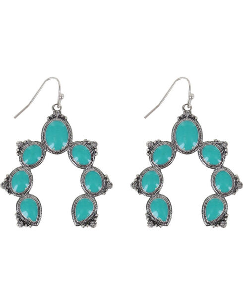 Shyanne Women's Turquoise Squash Blossom Earrings, Turquoise, hi-res