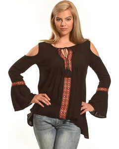 Derek Heart Women's Bell Sleeves Cold Shoulder Top , Black, hi-res