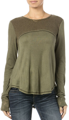 Miss Me Lace-Inset Waffle Knit Top, Olive, hi-res