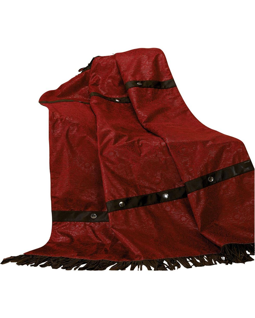 HiEnd Accents Cheyenne Red Faux Tooled Leather Throw Blanket, Multi, hi-res