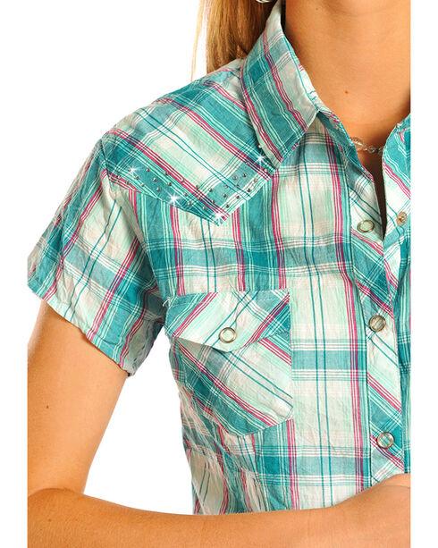 Panhandle Slim Women's Short Sleeve Snap Shirt With Rhinestones, Blue, hi-res