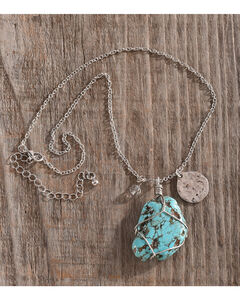 Shyanne Women's Turquoise Stone Necklace , Silver, hi-res