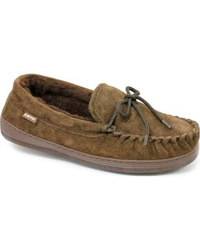 Chestnut Men's Leather Moccasin Slippers, Chocolate, hi-res