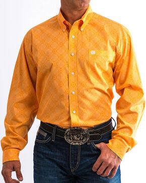 Cinch Men's Orange Geometric Print Western Shirt, Orange, hi-res