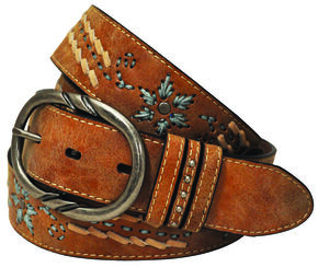Cowgirls Rock Women's Tan Turquoise Embroidery Leather Belt, Tan, hi-res