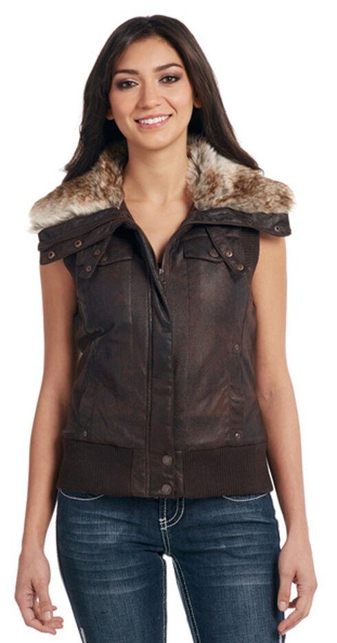 Cripple Creek Women's Brown Faux Fur Lining Aviator Vest, Dark Brown, hi-res