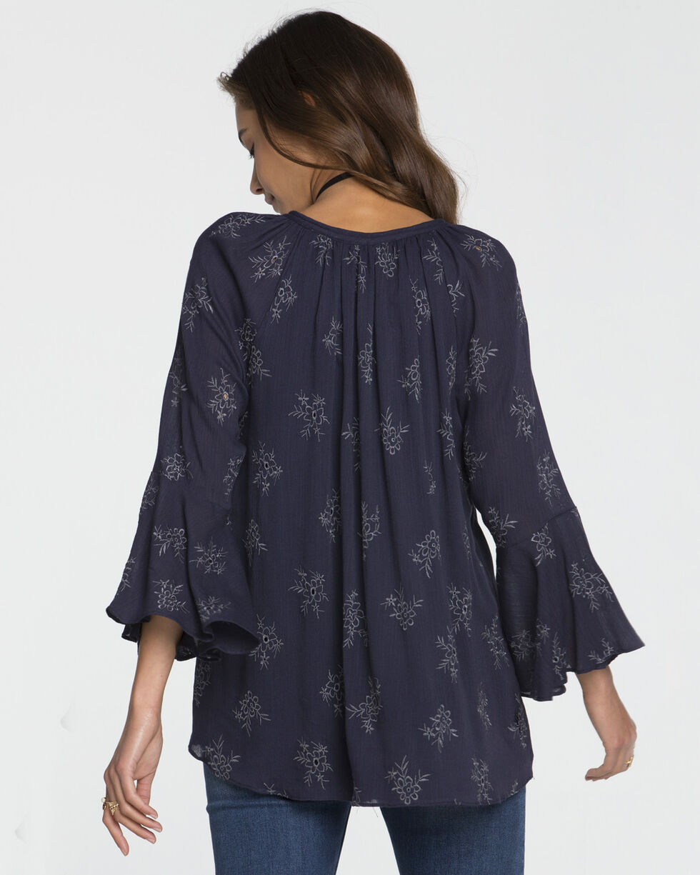 Miss Me Women's Floral Embroidered Bell Sleeve Top, Navy, hi-res