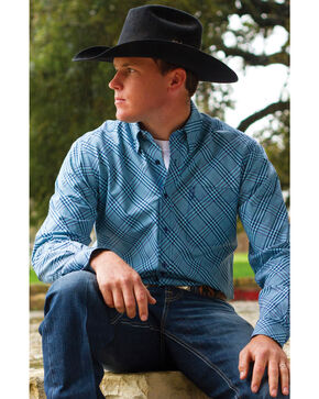 Cinch Men's Blue Plaid Western Shirt, Blue, hi-res