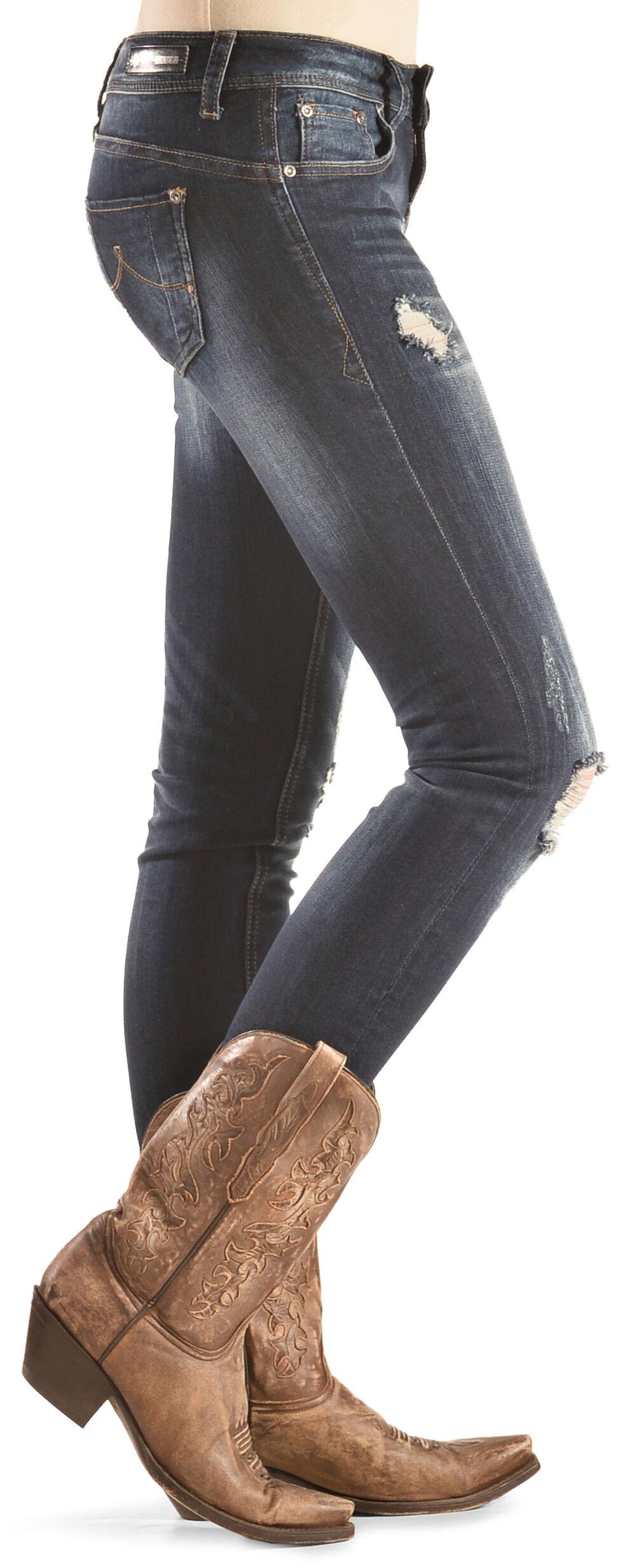 Grace in LA Women's Dark Wash Skinny Distressed Jeans , Denim, hi-res