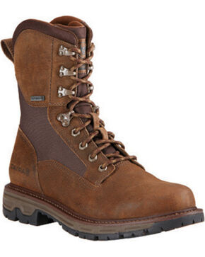 Ariat Men's Pebbled Conquest Waterproof Hunting Boots - Round Toe, Brown, hi-res