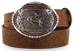 Cody James Men's Bronc Buckle Tooled Leather Belt, , hi-res