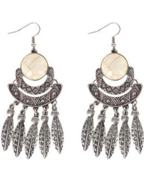 Shyanne Women's Feather Chandelier Earrings, Silver, hi-res