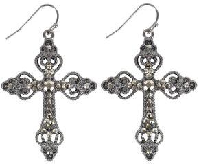 Shyanne Rhinestone Cross Earrings, Silver, hi-res