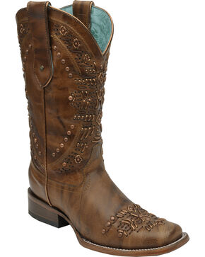 Corral Women's Brown Studded Cowgirl Boots - Square Toe, Brown, hi-res