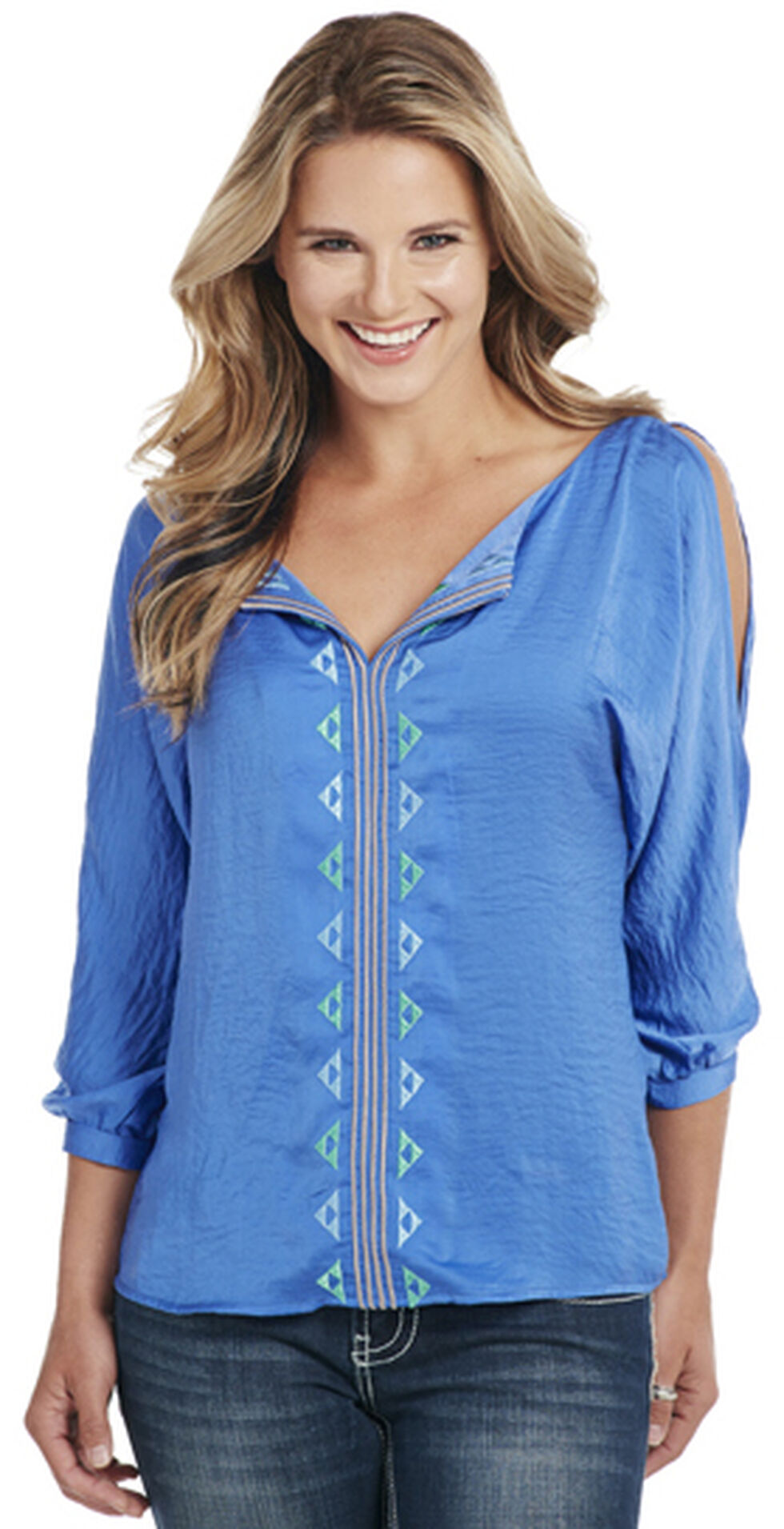 Cowgirl Up Women's Blue 3/4 Sleeve Cut-Out Shoulder Blouse, Blue, hi-res
