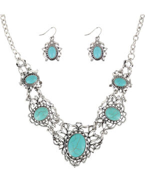 Shyanne Women's Turquoise & Filigree Jewelry Set, Silver, hi-res