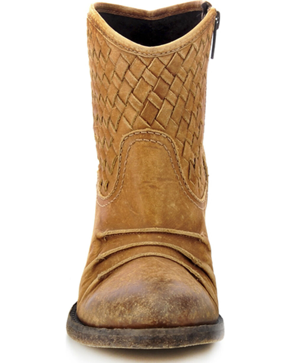 Circle G Distressed Woven Short Boots - Round Toe, Distressed, hi-res