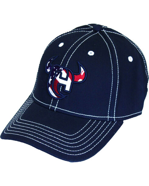Cowboy Hardware Men's Flag & Horns Logo Ball Cap, Navy, hi-res