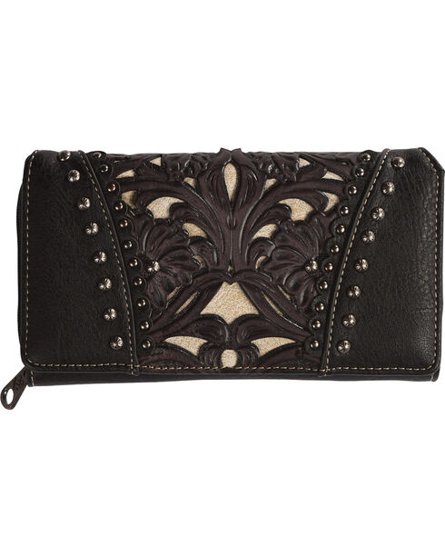 Shyanne Women's Leather Laser Cutout Zip-Around Wallet, Black, hi-res