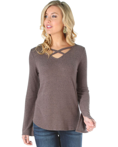 Wrangler Women's Criss Cross Long Sleeve Sweater Knit Top, Lt Brown, hi-res