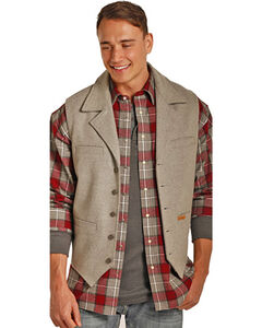 Powder River Outfitters Men's Light Grey Slim Fit Fully Lined Vest , Light Grey, hi-res