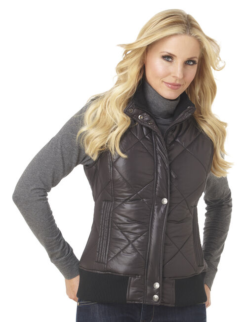 Cripple Creek Women's Water Resistant Quilted Faux Down Vest with Knit Trim, Black, hi-res