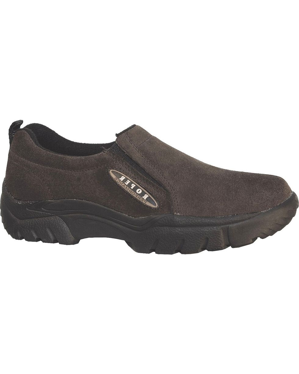 Roper Performance Wide Width Suede Slip-On Shoes - Round Toe, Brown, hi-res