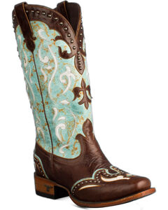 Lane Turquoise Lasso Cowgirl Boots - Snip Toe , , hi-res