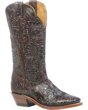 Boulet Floral Embossed Cowgirl Boots - Square Toe, Dark Brown, hi-res