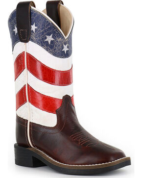 Cody James Boys' American Flag Western Boots - Square Toe, Red/white/blue, hi-res
