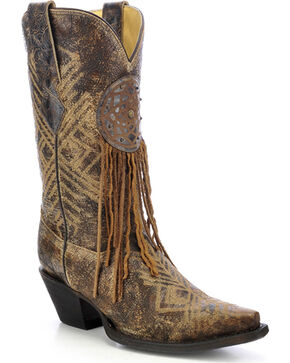 Corral Women's Dreamcatcher Fringe Cowgirl Boots - Snip Toe, Black, hi-res
