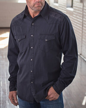 Ryan Michael Men's Black Whip Stitch & Embroidered Shirt, Black, hi-res