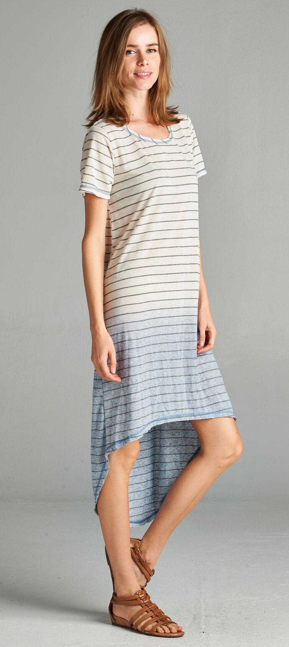 Hyku Women's Blue Dip Dyed Hi-Lo Dress, Blue, hi-res