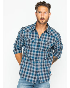 Cody James Men's Range Boss Grey Plaid Western Shirt, Grey, hi-res