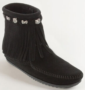 Minnetonka Women's Hello Kitty 40th Anniversary Fringe Boots, Black, hi-res