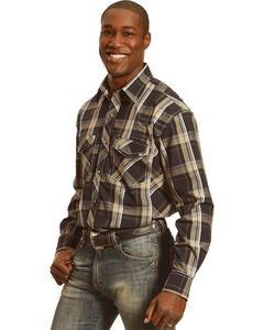 Crazy Cowboy Men's Black Plaid Long Sleeve Shirt, Black, hi-res