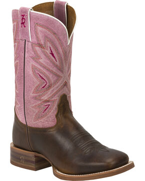 Tony Lama Tan Cuero 3R Stockman Cowgirl Boots - Square Toe , Brown, hi-res