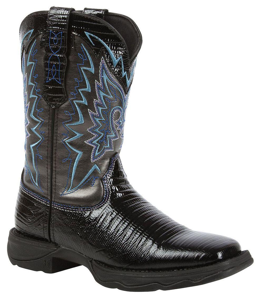 Durango Lady Rebel Snake Print Cowgirl Boots - Square Toe, Black, hi-res