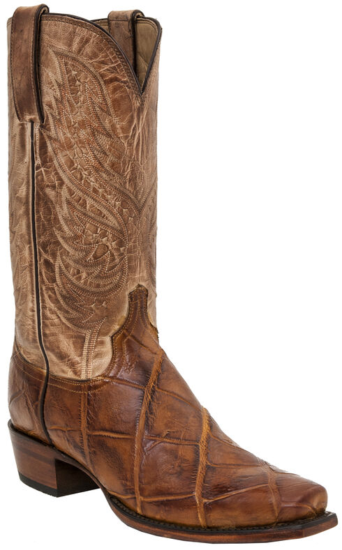 Lucchese Men's Rex Alligator Western Boots - Square Toe, Brandy, hi-res