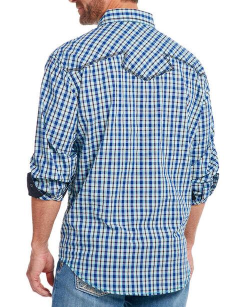 Cowboy Up Men's Check Patterned Long Sleeve Shirt, Blue, hi-res