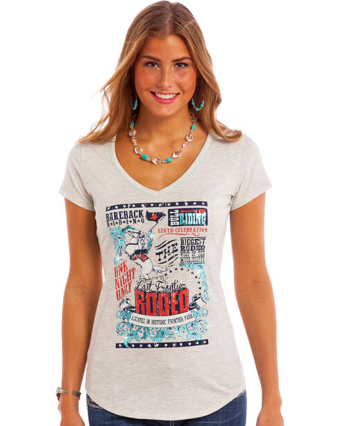 Panhandle Women's Slim Vintage Rodeo Tee, Light Grey, hi-res