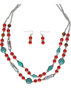 Shyanne Red & Turquoise Beaded Jewelry Set, Silver, hi-res