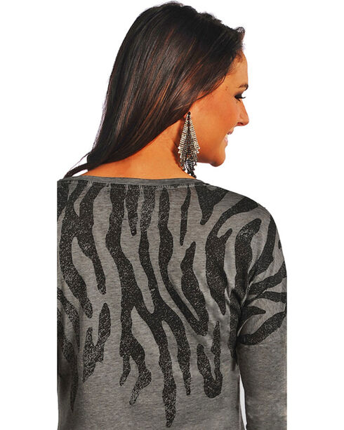 Rock & Roll Cowgirl Women's Grey Zebra Print Long Sleeve Shirt , Grey, hi-res