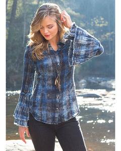 Ryan Michael Women's Tiered Sleeve Plaid Shirt , Indigo, hi-res