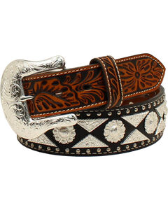 Ariat Men's Berry Conchos Nail Heads Belt , Black, hi-res