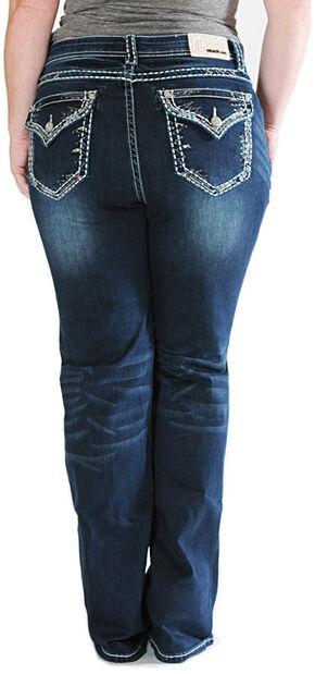 Grace in LA Thick Stitch Rim Dark Wash Bootcut Jeans - Plus Sizes, Indigo, hi-res