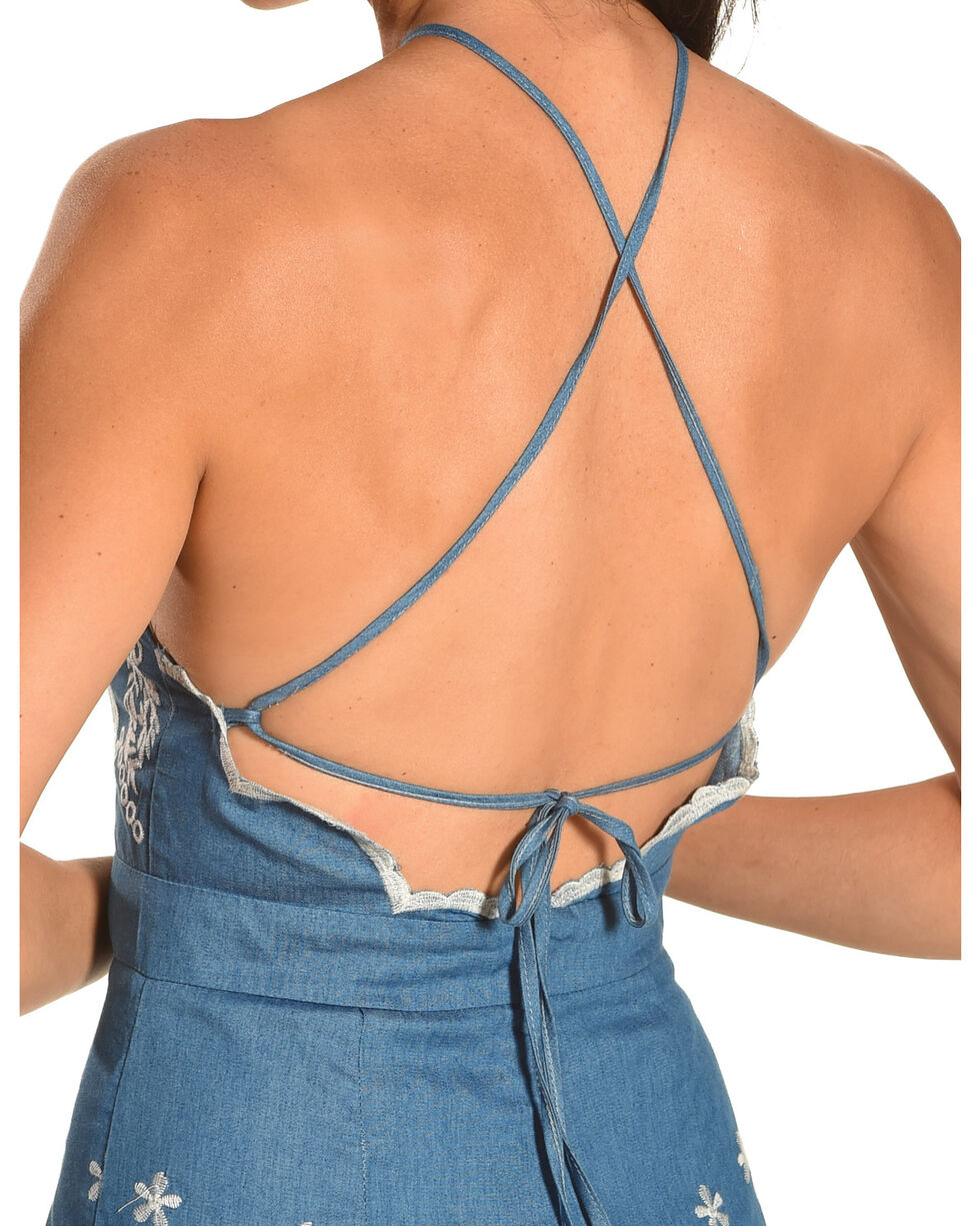 J JUVA Women's Halter Neck Embroidered Romper, Blue, hi-res