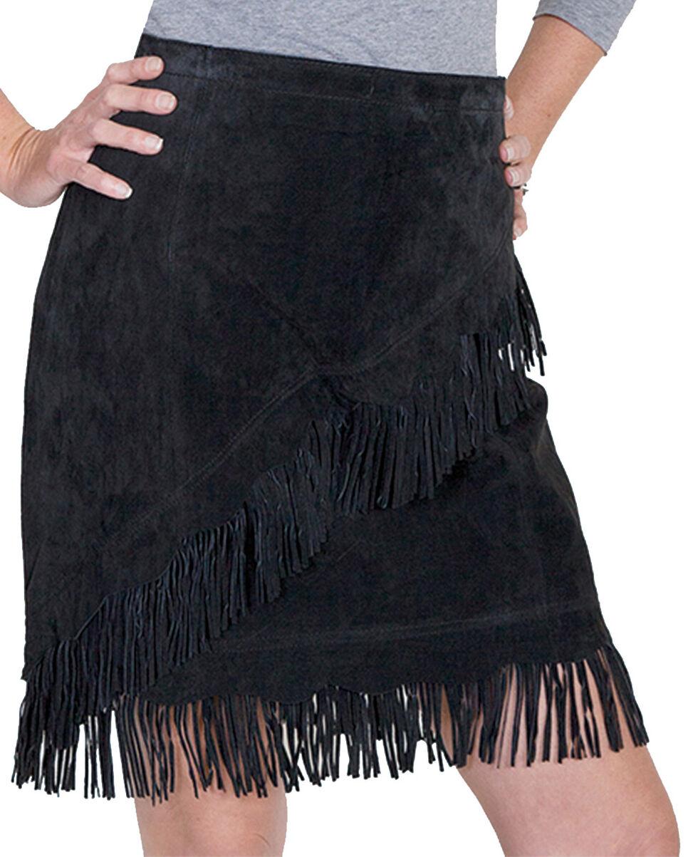 Scully Short Fringe Boar Suede Skirt, Black, hi-res